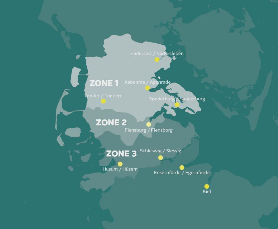 Slesvig med de tre afstemningszoner.
