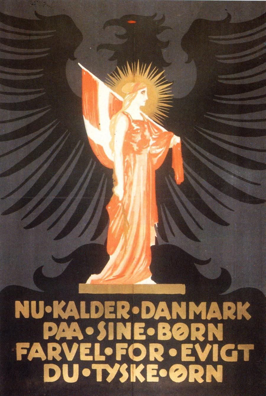 """Foran den truende tyske ørn kalder """"Moder Danmark"""" på sine børn."""