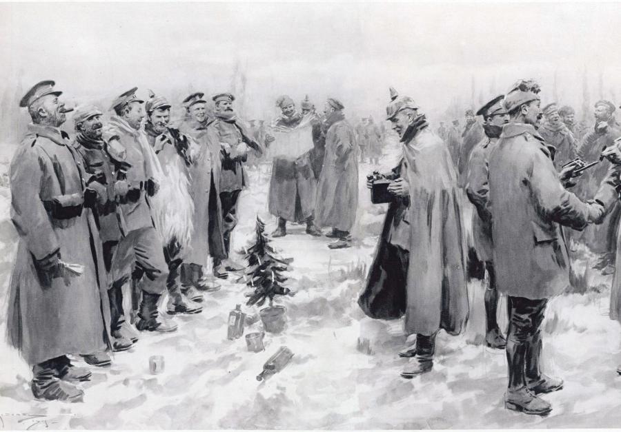 »The Illustrated London News« berettede i januar 1915 med tegninger om den såkaldte julefred nogle uger forinden, da soldaterne fraterniserede med hinanden. (Foto:FlA)
