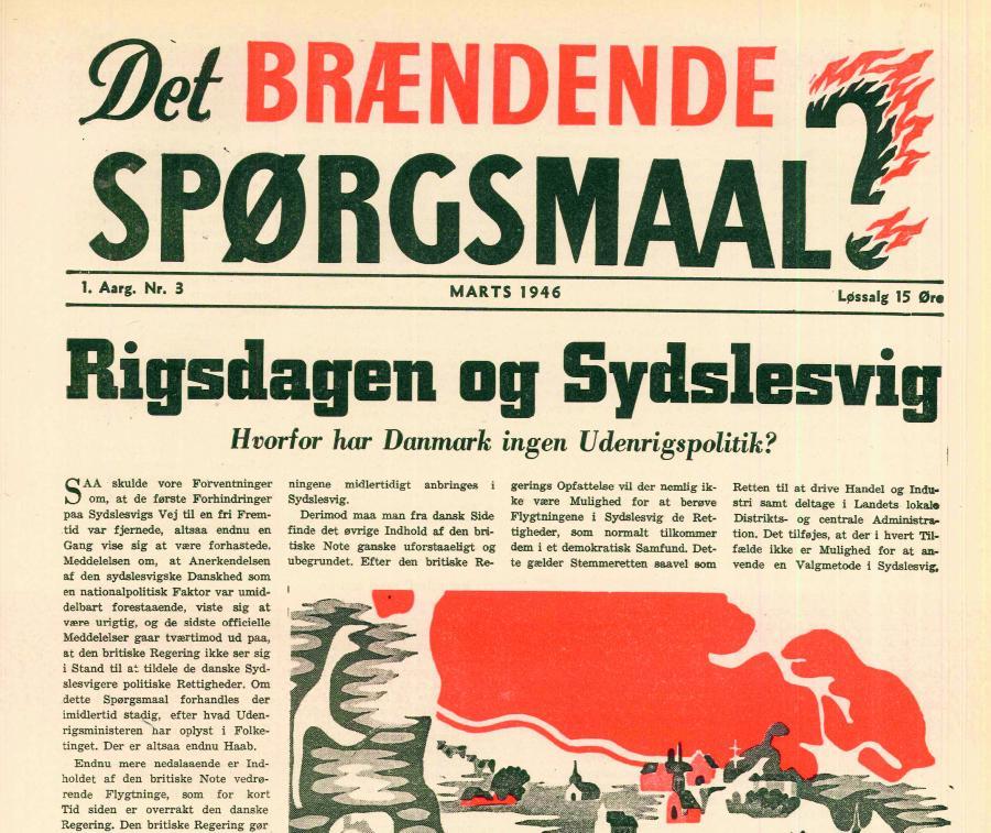 Forside af Sydslesvigsk Udvalg af 5. Maj 1945's medlemsblad »Det brændende Spørgsmaal« fra marts 1946.