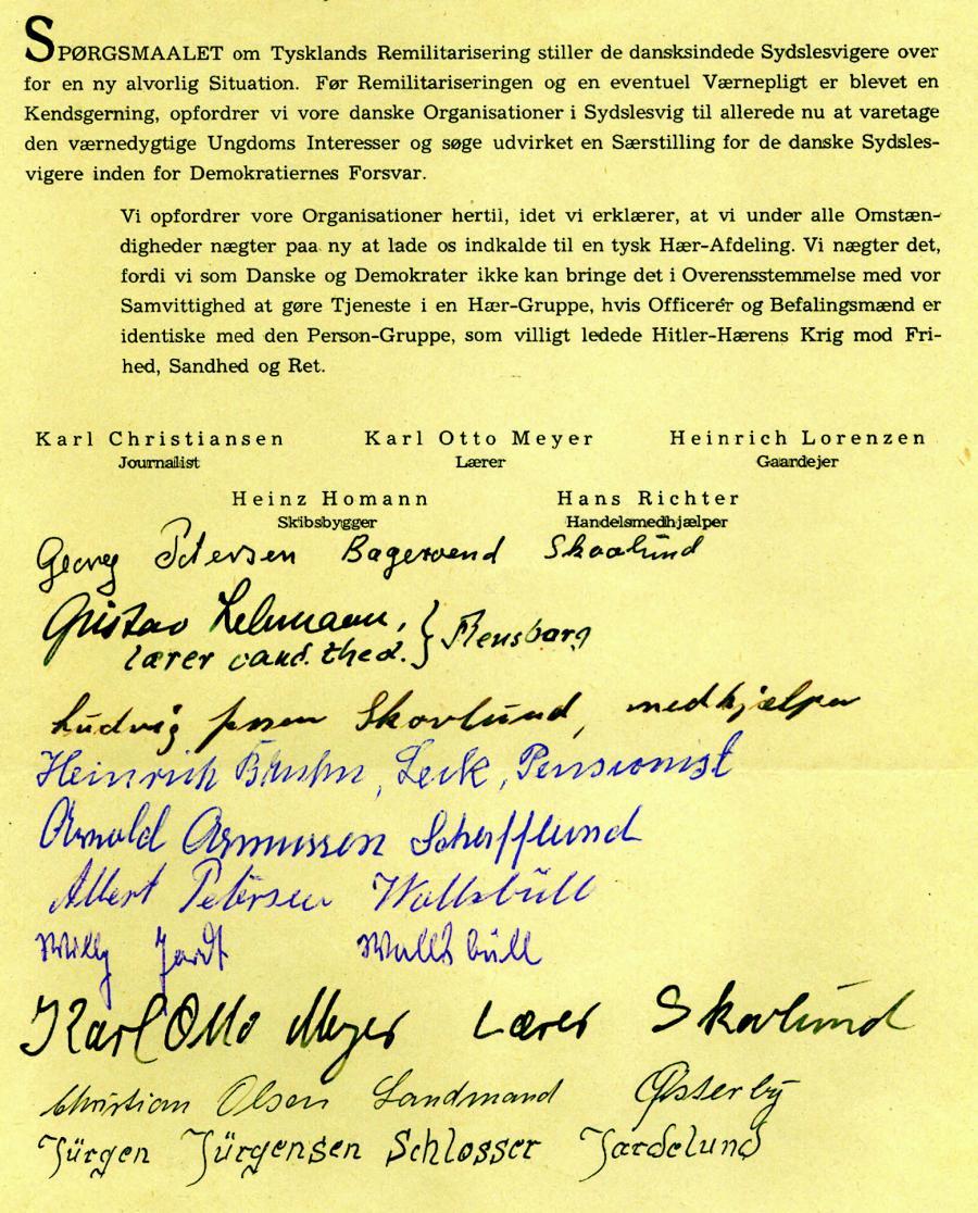 Én af de underskriftsblanketter mod planerne om vesttysk remilitarisering og værnepligt, der blev indsamlet i foråret 1951. (Kilde: Arkivet ved Dansk Centralbibliotek for Sydslesvig)
