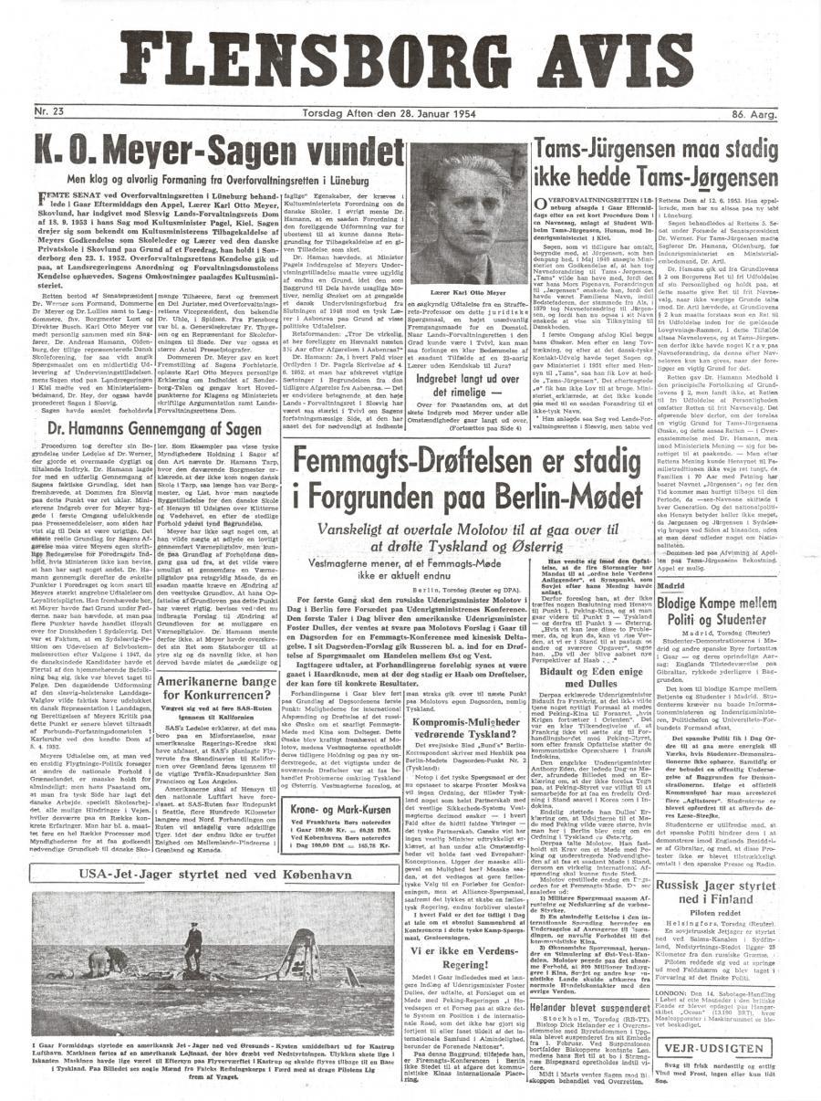 Forsiden af Flensborg Avis den 28. januar 1954, hvor Overforvaltningsrettens dom i Karl Otto Meyer-sagen var hovednyheden.