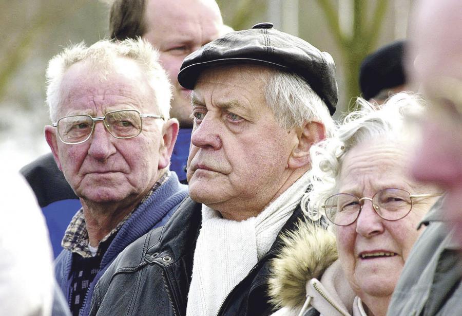 Karl Otto Meyer ses her ved en demonstration mod Schengen-aftalen i marts 2001. (Foto: Jens Peder Meyer)